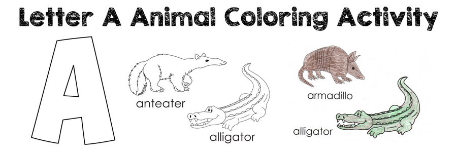 Letter A Animals Coloring Page