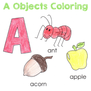Letter A Objects Coloring Page